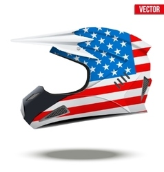 Usa flag on motorcycle helmets vector