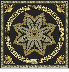 Vintage golden square and round greek ornament vector