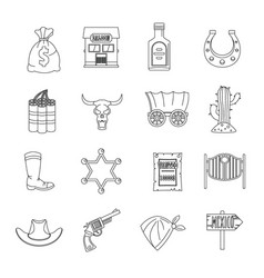 Wild west icons set design logo outline style vector