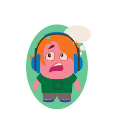 Worried and concerned geek funny avatar of little vector