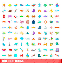 100 fish icons set cartoon style vector