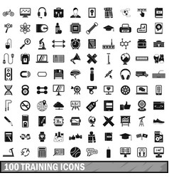 100 training icons set simple style vector