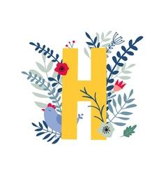 Floral alphabet letter h vector