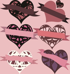 Set of hearts with ribbons vector