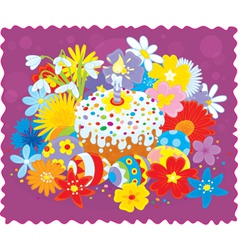 Easter cake eggs and flowers vector