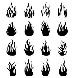 Silhouettes of fire flames vector