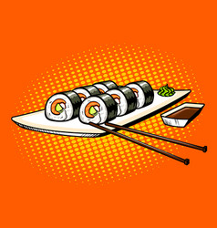 Japanese food rolls pop art vector