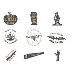 Set of halloween silhouette badges vintage hand vector