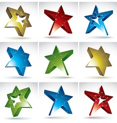 Set of 3d mesh stars isolated on white background vector