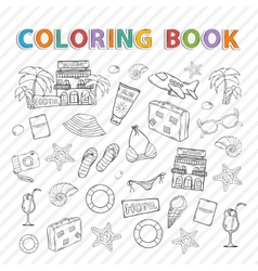 Coloring booksummer set vector