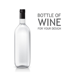Isolated realistic object on a bottle of wine vector