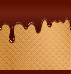 Flowing chocolate on wafer texture vector