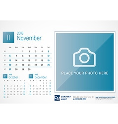 Desk calendar 2016 print template november week vector