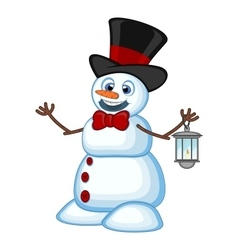 Snowman with a lantern and wearing a hat for your vector