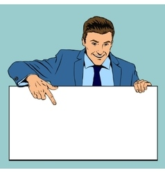 Man holding advertising empty banner vector image