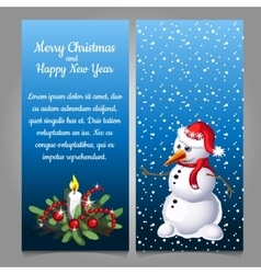 Snowman in red hat on a background of snow vector