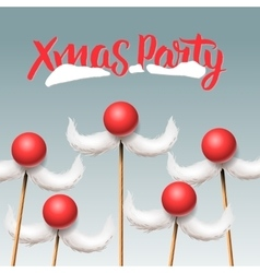 Christmas party card santa moustache vector
