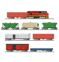 Collection of freight railway cars vector