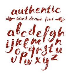 Handwritten brush script with shabby texture vector