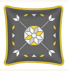 Decorative throw pillow grey and yellow pattern vector