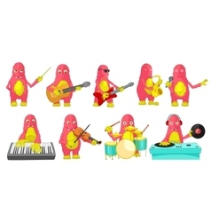 Set of monsters playing music vector