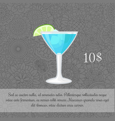 Alcoholic blue cocktail card template vector