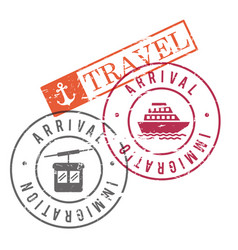 Arrival immigration travel stamps of cableway and vector