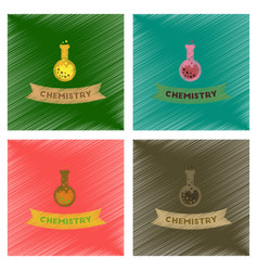 Assembly flat shading style icons chemistry lesson vector