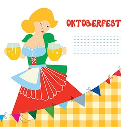 Banner for oktoberfest with girl and beer vector