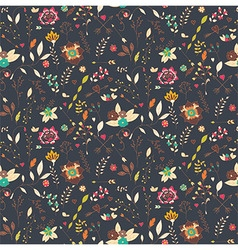 Bohemian hand drawn flowers seamless pattern vector