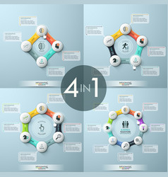 bundle of 4 modern infographic design templates vector image vector image