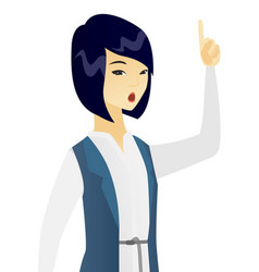 Business woman with open mouth pointing finger up vector