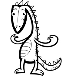 cartoon lizard or dinosaur coloring page vector image vector image