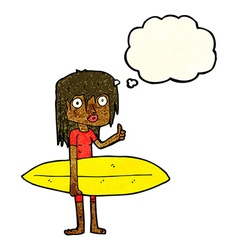 cartoon surfer girl with thought bubble vector image