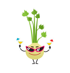 Celery character in sunglasses summer vacation vector