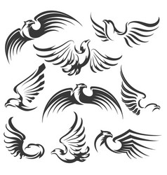 eagle icon set vector image