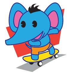Elephant skateboard vector
