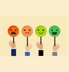emoticons feedback concept for satisfaction surve vector image vector image