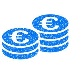 Euro coin stacks grunge icon vector