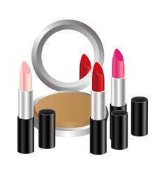 Face powder with lipsticks icon vector