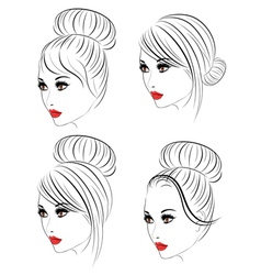 Fashion hairstyles lineart5 vector