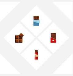 Flat icon bitter set of cocoa sweet chocolate vector