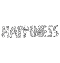 Happiness inscription coloring vector image