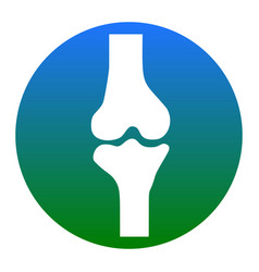 Knee joint sign white icon in bluish vector