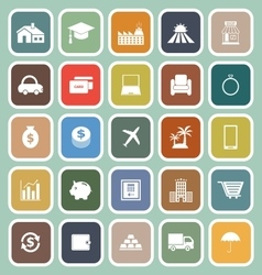 Loan flat icons on green background vector