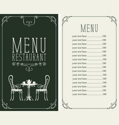 menu with price image of served table and chairs vector image vector image