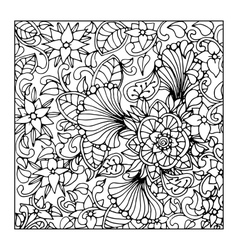 Monochrome floral pattern hand drawn vector