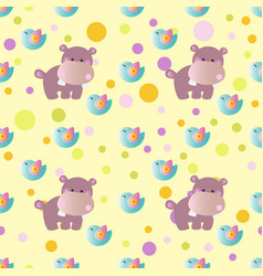 Pattern with cartoon cute toy baby behemoth bird vector