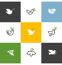 Peace dove with green branch set of icons and logo vector