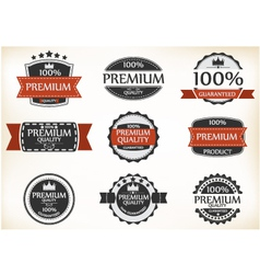 Premium quality and guarantee labels with retro vi vector